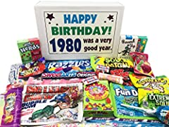1980 BIRTHDAY GAG GIFT OF CHILDHOOD CANDY: A fun selection of 40th birthday candy from yesteryear that will instantly make this destined to be the prized gift the special man or woman will get. 80s RETRO CANDY TO CELEBRATE A 40TH BIRTHDAY YEAR: Surpr...