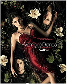 The Vampire Diaries (TV Series 2009 - ) 8 inch x 10 inch photograph Nina Dobrev in Burgandy Dress w/Ian Somerhalder & Paul Wesley Among the Water Lillies Title Poster kn