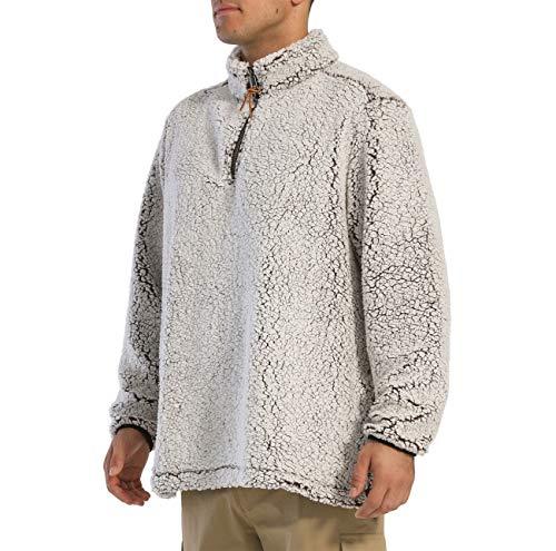 KEFITEVD Vinter varm fleecetröja för män höst 1/4 dragkedja långärmad toppar vindtät stående krage tröja