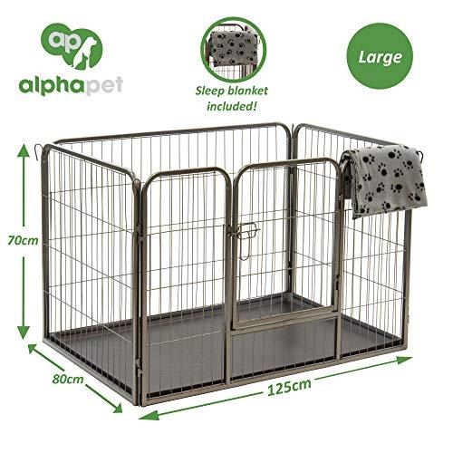 Alphapet Laufgehege für Hunde und Welpen, strapazierfähig, inklusive Unterlage und Schlafdecke, erhältlich in 4 Größen