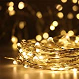 Ranpo Guirnalda de luces LED de 50 ledes, funciona con pilas, luz blanca cálida, funciona con pilas, funciona con pilas, para decoración de árbol de Navidad, luces de alambre de cobre impermeable