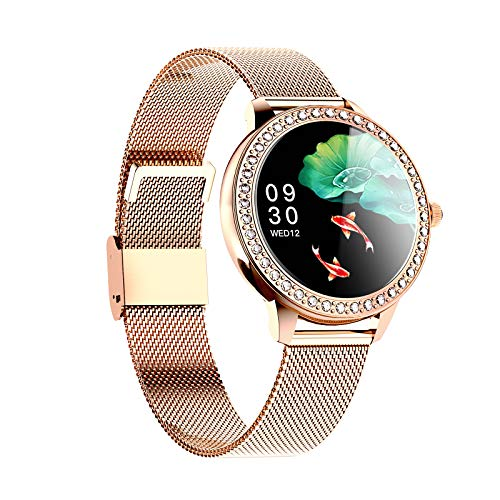 KKmoon Smartwatch, Pantalla Táctil a Color de 1,09 Pulgadas, Reloj Inteligente Impermeable IP68, Rastreador de Ejercicios, Monitoreo de Frecuencia Cardíaca/Sueño, Notificación de Mensajes - Oro