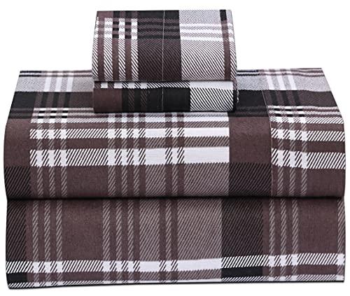 Ruvanti 100% Cotton 4 Pcs Flannel Sheets Balance Plaid Brown Queen Sheets , Deep Pocket, Warm ,Super Soft, Breathable Moisture Wicking Bed Sheet Set Queen Include Flat Sheet, Fitted Sheet 2 Pillowcase