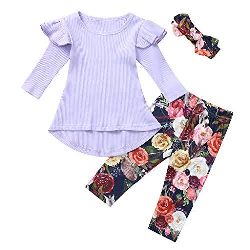 Robemon 3-teiliges Kleidungsset für Mädchen, modisch, einfarbig, langärmlig, mit Rüschen + Hose mit Blumenprint + Stirnband für Herbst Baby Pullover 1 – 5 Jahre Gr. 2-3 Jahre, violett