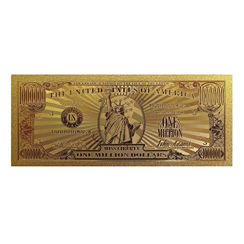 blinkee Miss Lady Liberty 1 Million Dollars Original 24K Gold Plated Bill Collectible Banknotes for Decoration