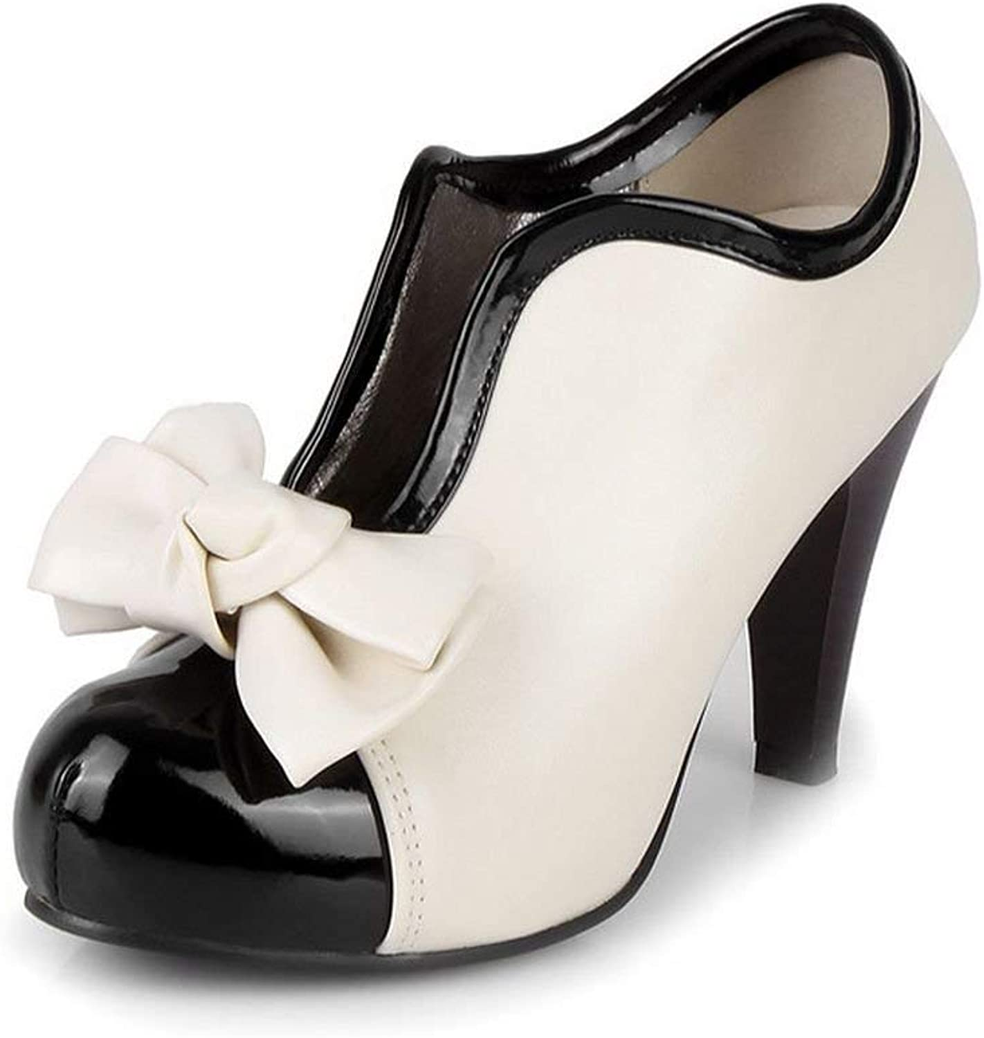 Unm Women's High Heel shoes New Sexy Lady Beige Bow Vintage Bowknot Pumps Platform Round Toe Ladies
