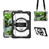 GROLEOA iPad Air 3 2019/ iPad Pro 10.5 2017 Case with Pencil Holder, iPad 10.5 inch Heavy Duty Case with Hand Strap Shoulder Strap, 360 Degree Rotating Kickstand Case for iPad 10.5 inch (Clear+Black)