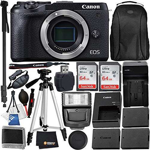 Canon EOS M6 Mark II Mirrorless Digital Camera Body Only(3611C001) and 15PC Accessory Bundle – Includes 2X SanDisk Ultra 64GB SDXC Memory Card + 2X Extended Life Replacement Battery (LP-E17) + More