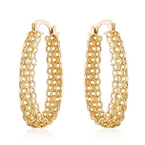 Barzel 18K Gold Plated Filigree Link Mesh Braided Hoop Earrings (Gold)
