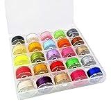 JZK 25x Verschiedene Farben Nähmaschinen Garn Nähgarn Sewing Threads Set mit Spulen Box für Nähmaschine oder Handnähen