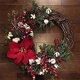 Artificial De La Navidad Guirnalda De La Puerta De La Decoración, Corona Guirnalda Artificial Flor Navidad Papá Noel Colgante Árbol De Navidad Colgante Adornos