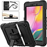 Samsung Galaxy Tab A 8.0 Case 2019 with Screen Protector Pencil Holder [360 Rotating Hand Strap &Stand], SEYMAC stock Drop-Proof Case for Samsung Galaxy Tab A 8.0 SM-T290/T295/T297 2019 (Black)