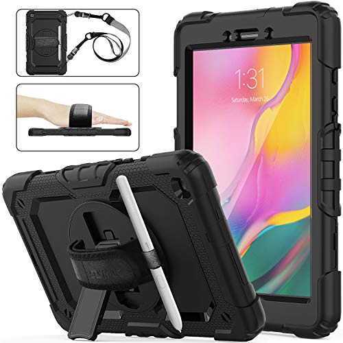SEYMAC stock Samsung Galaxy Tab A 8.0 SM-T290/T295/T297 Case, Three Layer Hybrid Drop Protection Armor Case with [360 Rotating Stand] Hand Strap [Pencil Holder] for Galaxy Tab A 8.0 2019 (Black)