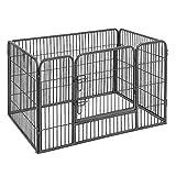 FEANDREA Welpenfreigehege Welpenzaun Hundegehege Laufstall Zaun Gitter Hasen Kaninchen grau 122 x 70 x 80 cm PPK74G
