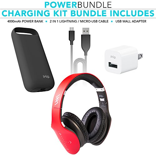 Zeikos IHip Side Swipe Touch Control Wireless Bluetooth Headphones Over Ear - Foldable, Soft Memory-Protein Earmuffs, W/Built-in Mic Wired Mode PC/Cell Phones/TV - Red - Touch - Charging Kit