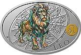 Power Coin Leo León Sign of Zodiac 1 Oz Moneda Plata 1$ Niue 2021