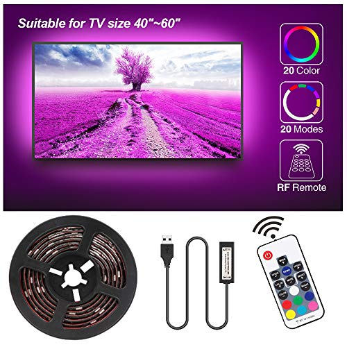 Tira LED TV 2.3M, Speclux Tiras LED Iluminación para HDTV/PC de 40-60 pulgadas, Retroiluminación de TV Tiras LED USB Impermeable con Control remoto de RF, 20 colores (2x50cm+2x60cm tira LED)