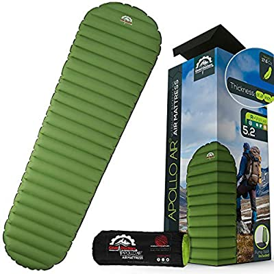 Ultralight 17oz Camping Sleeping pad- Gear Doctors ApolloAir - Compact, Warm 5.2 R-Value 4 Season Air Mattress, Perfect for Backpacking, Hiking - Lightweight Inflatable & Compact Sleep Pad