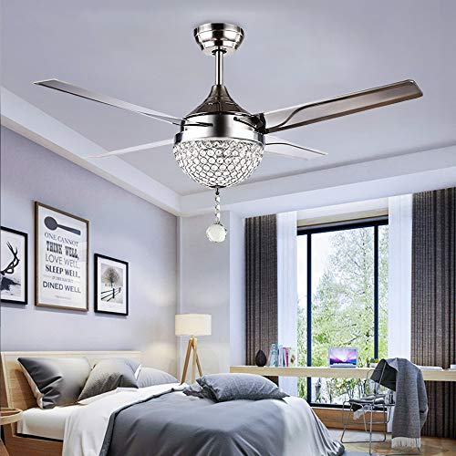 Tropicalfan Crystal Modern Ceiling Fan Remote Control Home...