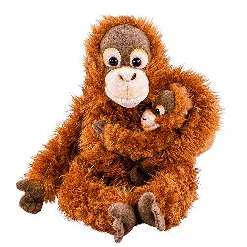 Teddys Rothenburg Kuscheltier Orang Utan AFFE mit Baby 28 cm sitzend Plüschtier