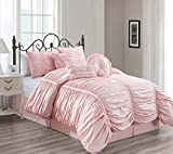 Chezmoi Collection Chic 7-Piece Pink Ruched Ruffle Pleated Comforter Bedding Set, Queen Size