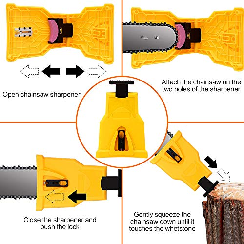 Electric Chainsaw Teeth Blade Sharpener - Chain Saw Blade Sharpener Fast Sharpening Stone Grinder Tools Bar Mounted Suitable for 14/16/18/20 Inch Two Holes Chain Saw Bar