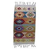 Fybernots - Alfombra de lana hecha a mano Kilim Nomadic Floral | Alfombra 100% lana | 85 x 150 cm