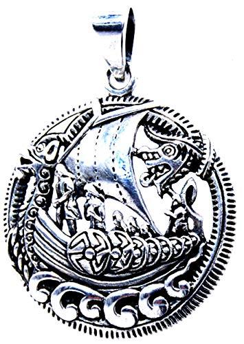 Kiss of Leather Colgante de barco vikingo de plata de ley 925 n.º 386