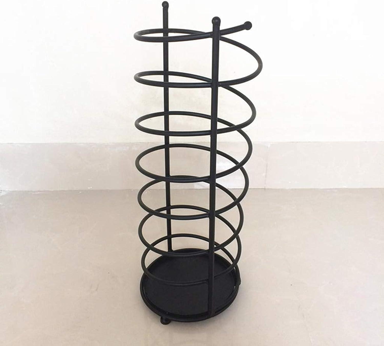 HLJ European Household Umbrella Stand Creative Wrought Iron Umbrella Barrel Hotel Lobby Umbrella Stand (color   Black)