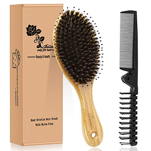 Hair Brush Comb Set Boar Bristle Hairbrush for Curly Thick Long Fine Dry Wet Hair,Best Travel Bamboo Paddle Detangler Detangling Hair Brushes for Women Men Kids Adding Shine Smoothing Hair