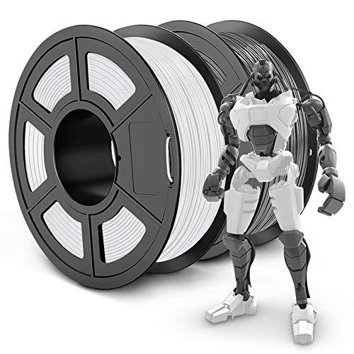 SUNLU PLA Plus 3D Filament 1.75mm for 3D Printer & 3D Pens, 2KG (4.4LBS) PLA+ Filament Tolerance Accuracy +/- 0.02 mm, White+Grey