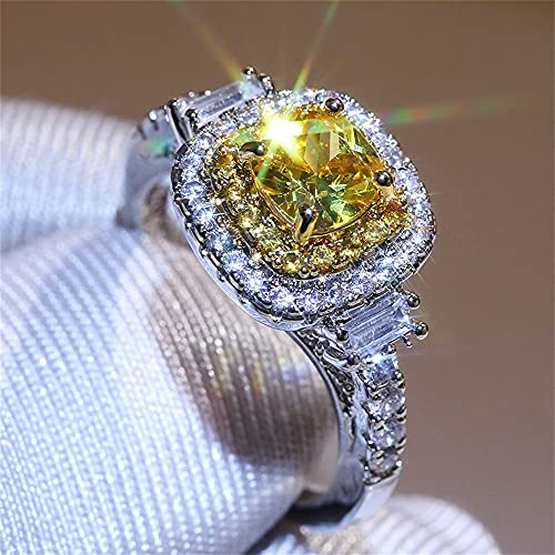925 Sterling Silver Full Diamond Ring Shiny Citrine Ring Square Cut 3Ct Cubic Zirconia Promise Rings CZ Yellow Gem Cocktail Rings Eternity Engagement Wedding Band Ring for Women W.1 (US Code 8)