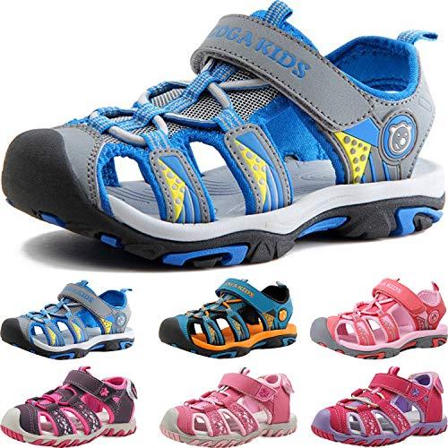 Sandalen Jungen Mädchen Geschlossene Sportliche Sandalette Kinder Atmungsaktiv Strandschuhe Outdoor Trekkingsandalen Mit Klettverschluss Grey