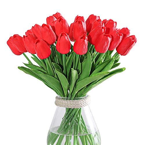 Kisflower 30Pcs Künstliche Tulpen Blumen Gefälschter Tulpenstrauß Echte Berührungsblumen für Dekor (Rot)