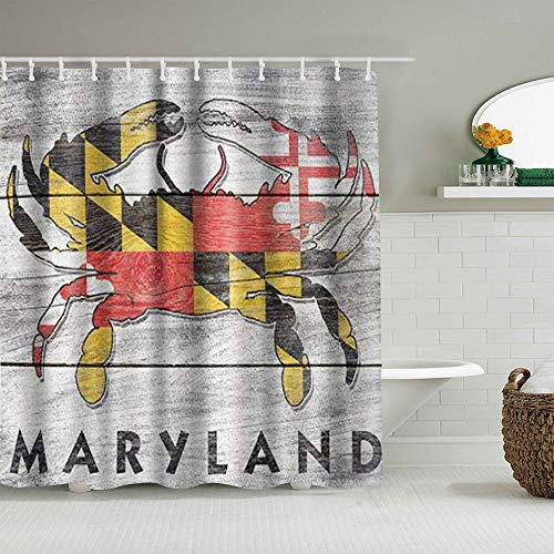 ALLMILL Shower Curtain Maryland Rustic State Flag Crab Waterproof Bath Liners Hooks Included - 72 x 72 inches Bathroom Decorative Ideas Polyester Fabric Accessories