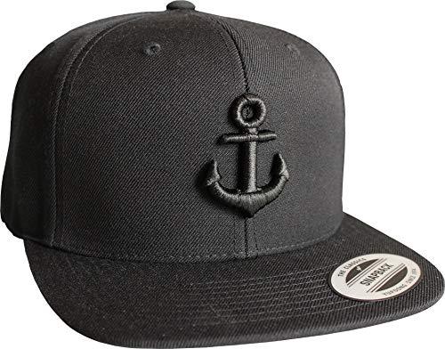 Cap: Anker- Flexfit Snapback - Urban Streetwear - Männer Mann Frau-en - Baseball-cap - Hip-Hop Rap - Mütze - Kappe - Kapitän Seemann - Angler - Hamburg - Basecap (Schwarz)