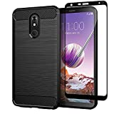 Sfmn Tpu Case with Tempered Glass Screen Protector, Slim Soft TPU Protective Rubber Bumper Case Cover Compatible/Replacement for LG Stylo 5 Phone Case (Black+Screen Protector)