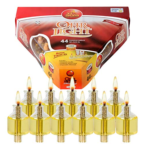 Pre Filled Hanukkah Menorah Oil Cups - Olive Oil Menorah Cups with Wick Redy to Use - 44 Pk Ohr Lights - Large