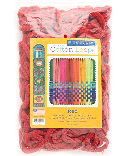 Friendly Loom Potholder Cotton Loops 7 Traditional Size Loops Make 2 Potholders, Weaving Crafts for Kids and Adults-Red by Harrisville Designs (F551R)