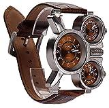 uomini multifunzionali di orologio tre quadranti analogici mani luminose e di design cinturino in pelle confortevole (marrone 1 confezione) costumi svegli