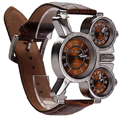 xiaocheng Multifunktionale Uhr der Männer DREI analoge Zifferblätter Leuchtzeiger und Bequeme erband Design (braun 1 Stück) Nette Kostüme