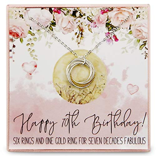 RareLove 70th Birthday Gifts for Women 925 Sterling Silver Six Circle Rings One Golden Ring Pendant...