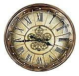 Sassy Home CA008 - Reloj de Pared con Movimiento de Movimiento de Engranaje mecánico Redondo rústico con Efecto de latón, 60 x 6 x 60 cm