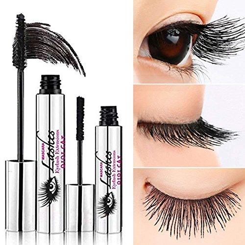 ROPALIA 4D Mascara Cream, Makeup Wimpern mit Fiber Sets Wasserdicht Mascara Eye Black Wimpernverlängerung verrückt lange Stil warmes Wasser Waschbar Mascara, 10ml