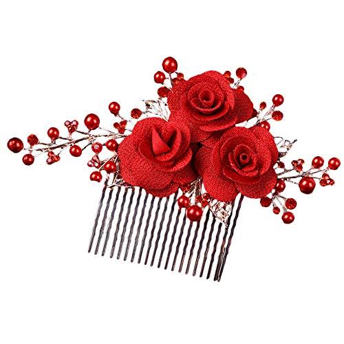 Outflower. 1PCS Peigne de Mariée Clear Crystal Rhinestone Rose Flower Perle Clips de Cheveux Accessoires Cheveux Pins Femmes Bridal Cheveux Chignon Clips Hairpins