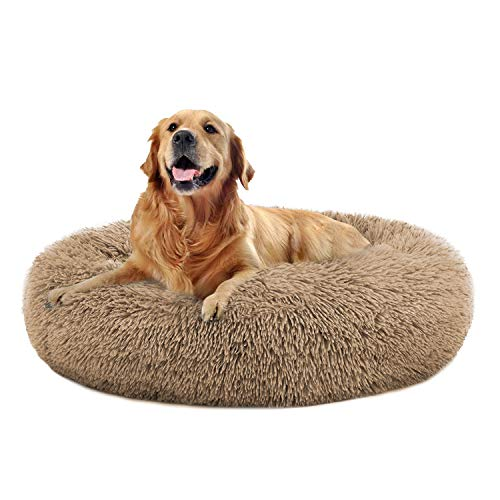 Comfortable Round Plush Dog Beds, Calming Dog Bed (L/XL/XXL/XXXL) for Small Medium and Large Dogs