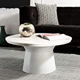 Safavieh Home Mila White Marble and White Pedestal Round Coffee Table