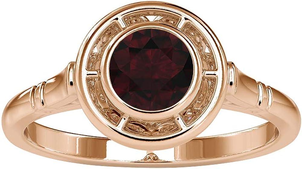 Rosec Jacksonville Mall Jewels - 1 2 CT Set Garnet Ranking TOP12 Solitaire Ri Ring Bezel