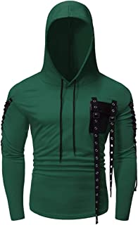 Men's Hooded Sweater Slim Fit Long Sleeve Hoodie Drawstring Chest Pockets Fashion Vintage Metal Decorative Patchwork Sweat...