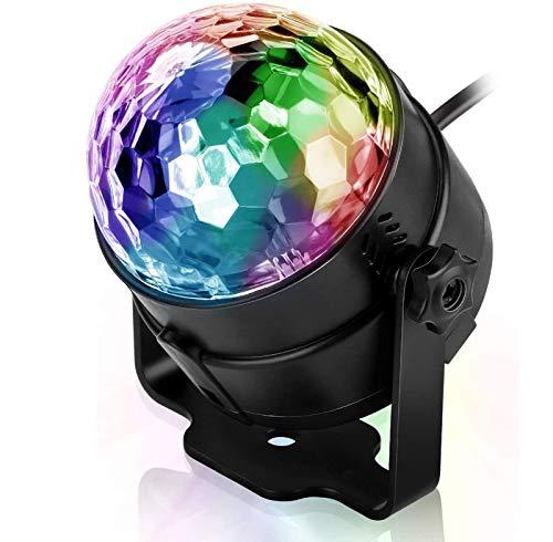 ZJWD Disco-Lichter Disco-Ball-Party-Lichter Ton Aktiviert, RGB-Blitzlichter DJ-Licht Rotierender Spiegelball-Lichteffekt, Für Familiengeburtstag Familien-Party-Disco-Ball